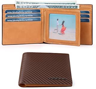 2 ID Windows RFID Blocking Bifold Carbon Fiber Leather Wallets for Men with 2 Cash Compartments