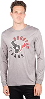Ultra Game NFL Houston Texans Men's Athletic Quick Dry Long Sleeve Tee Shirt, Large, Gray