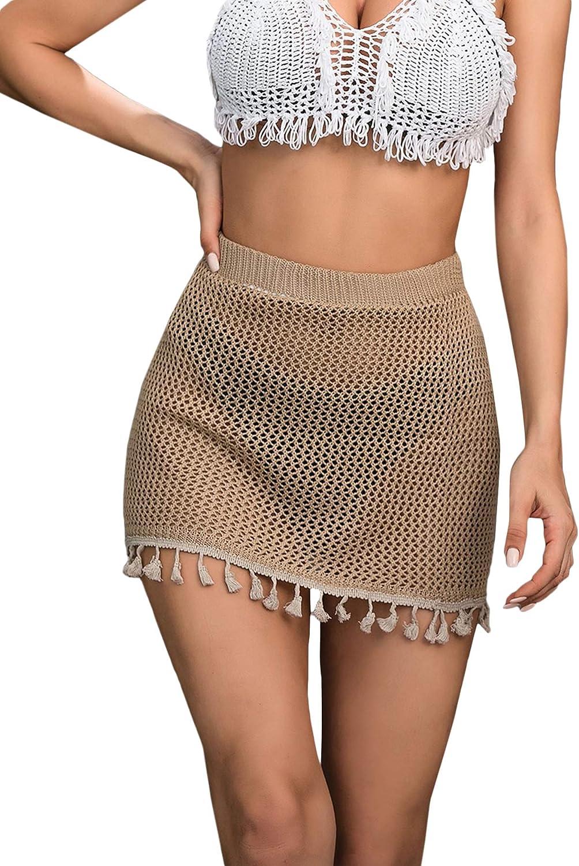 SOLY HUX Women's Elastic Waist Tassel Sheer Beach Swimwear Cover Up Mini Skirt