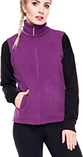 Oalka Women's Spring Fall Full Zip Fleece Vest