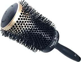 Round Ceramic Ionic Nano Technology XX-Large Hair Brush by Better Beauty Products, XXL/2.5 inch/65mm Barrel with Nylon Bristles, Professional Salon Brush, Black with Metallic Gold