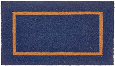 """mDesign Rectangular Coir and Rubber Entryway Doormat with Natural Fibers for Indoor or Outdoor Use - Neutral Design - Stripe Border - Minimalistic - 36"""" x 22"""" - Navy Blue/Black"""