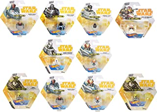 Set of 10 Hot Wheels Star Wars Battle Rollers Starship Die Cast Vehicles Character Collectible Action Toy Figures (Assortment E)