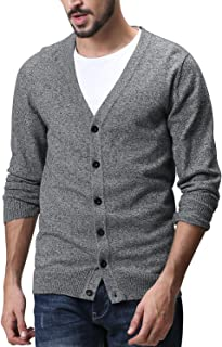 Matchstick Men's Button Through V Neck Knitted Cardigan #Z1522(Medium Heather Gray,UK M (Asian tag Size XL))