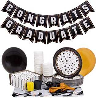 Black & Gold Graduation Party Supplies | Decoration Kit Includes Custom Tablecloth, Pennant Banner, 50 Plates, 15 Balloon...