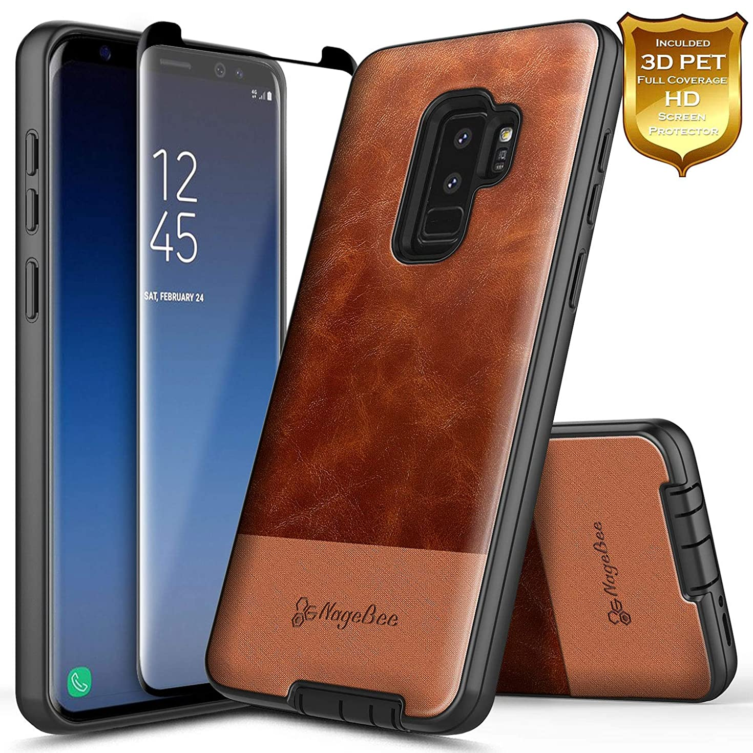Galaxy S9+ Plus Case with Screen Protector (Full Coverage 3D PET), NageBee Premium [Cowhide Leather] Snap-On Heavy Duty Shockproof Hybrid Defender Rugged Durable Case for Samsung Galaxy S9 Plus -Brown
