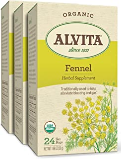 Alvita Organic Fennel Herbal Tea - Made with Premium Quality Organic Fennel Seeds, With Sweet Aroma And Flavor Like Licori...