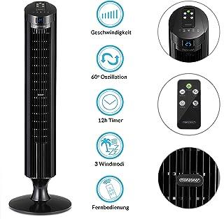 Deuba Ventilador de Torre Negro con función Turbo y Mando a Distancia 3 velocidades y Funciones Aire Acondicionado