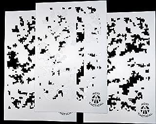 AcidTactical 3 Pack - 9x14 Single Design Camouflage Airbrush Spray Paint Stencils - Duracoat Gun Car Jeep (Digital Camo x3)
