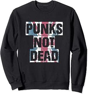 Punk's Not Dead   Distressed Faded Union Jack Flag Style  Sweatshirt