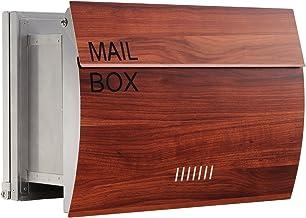 LEON (レオン) MB0310 郵便ポスト 埋め込み型 ステンレス製 メール便対応 防水 おしゃれ 大型 北欧 ポスト 郵便受け プラムウッド