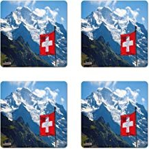 Ambesonne Switzerland Coaster Set of 4, Mannlichen Jungfrau Region Mountains with Snow and National Flag Spring Season, Square Hardboard Gloss Coasters, Standard Size, Multicolor