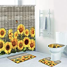 4 Pcs Sunflower Shower Curtain Sets with Non-Slip Rug, Toilet Lid Cover and Bath Mat..