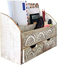 Rustic Home Boutique Desk Organizer Letter Holder - Handmade in Premium Mango Wood White Country Rustic Style