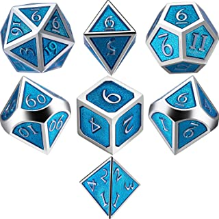 TecUnite Set of 7 Metal Dice Polyhedral 7-Die Dice Set Role Playing Game Dice Set for Dungeons and Dragons, RPG Dice Gaming, D&D, MTG, Math Teaching with Drawstring Pouch (Turquoise)