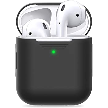 PodSkinz AirPods Case [Front LED Visible] Protective Silicone Cover and Skin Compatible with Apple AirPod Case 2 and 1 (Without Carabiner, Black)
