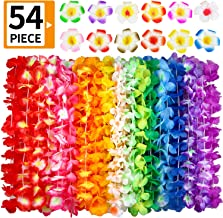 Hawaiian Leis, (54 Designs Total) 42 Flowers Necklaces 7 Colour and 12 Hair Clips for Party Supplies, Hawaiian Luau Decorations, Summer Beach Vacation, Tropical themed Party Favors, Birthday, Wedding