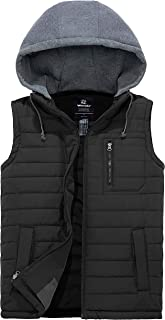 Men's Puffer Vest Warm Sleeveless Winter Jacket with Removable Hood
