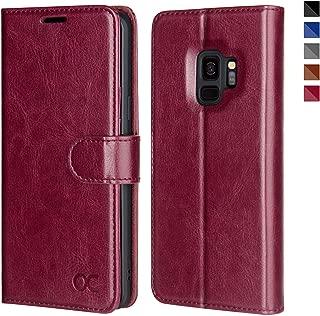 OCASE Samsung Galaxy S9 Case Leather Flip Wallet Case for Samsung Galaxy S9 Devices (Burgundy)