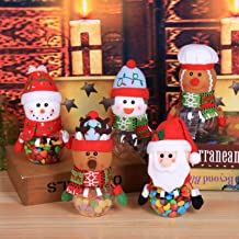 Christmas Theme Candy Jar for Gift Plush Plastic Transparent Candy Storage Bottle with Lid Funny Sweet Sugar Collection Bo...