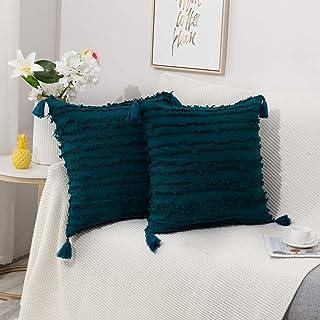 طقم تيارونيكس مكون من 2 غطاء وسادة من القطن والكتان مع شرابات، أغطية وسادات مزخرفة للأريكة والسرير والمنزل (أزرق، 2013 سم)