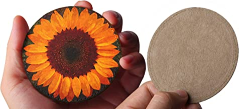 Sunflower – Vegan Leather Drink Coasters w/Stitched Border Set of 6