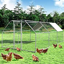 Giantex Large Metal Chicken Coop Walk-in Chicken Coops Hen Run House Shade Cage with Waterproof and Anti-Ultraviolet Cover...