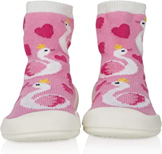 Nuby Snekz Comfortable Rubber Sole Sock Shoes for First Steps- Pink Swan/Large 14-22 Months