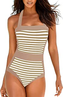Upopby Women's Slimming Halter One Piece Swimsuits Color Block Tummy Control Swimwear Plus Size Bathing Suits