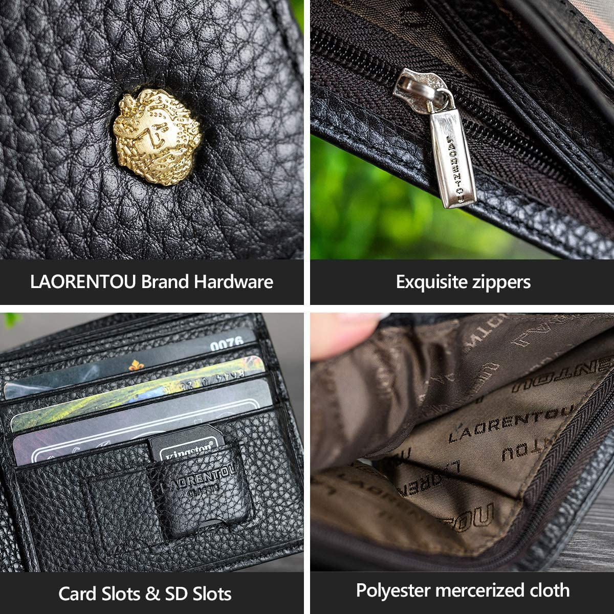 LAORENTOU Men's Wallets, Genuine Cow Leather RFID Blocking Gift Box Packaging Leather Mens Bifold Wallets with Zipper Coin Pocket Casual Men Purse Slim Short Wallet Gift for Father day(Black)
