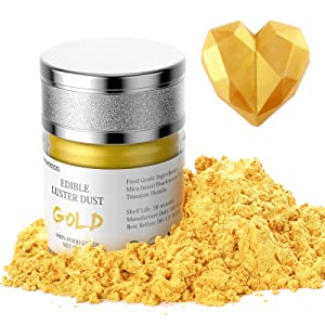 Nomeca Edible Luster Dust, 8 Grams Food Grade Gold Cake Dust Metallic Shimmer Food Coloring Powder for Cake Decorating, Baking, Fondant, Gumpaste, Chocolate, Candy, Drinks, Cookies - Gold