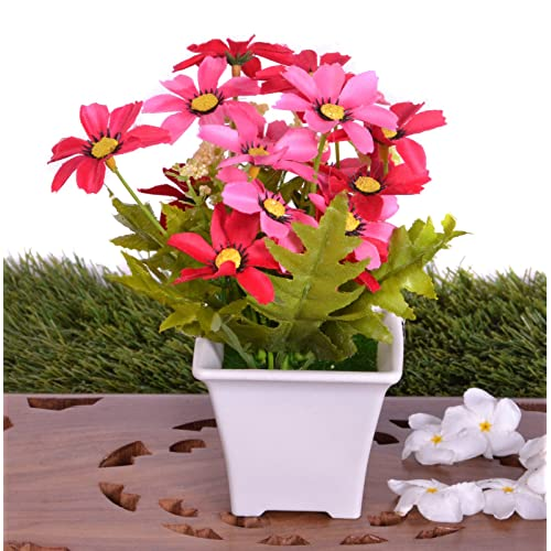 Pindia Artificial Pink Flower Plant with Pot for Home & Office Décor-12 * 12 * 17 cms