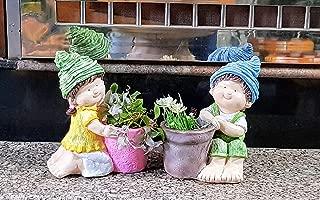 Wonderland Boy-Girl (Set of 2) Shape Pots, Planter, Planter for Home Decor, Garden Decor, Balcony, Gifting, Outdoor Planter, (Made of Polyresin, Can use Outdoors) Christmas Decoration
