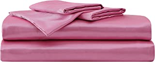 Betsey Johnson | Satin Collection | Bed Sheet Set - Silky & Soft, Premium 4-Piece Satin Bedding, Machine Washable for Easy Care, Full, Pink