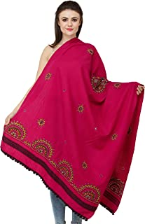 Exotic India Baton-Rouge Shawl from Kutch with Multicolored Thread Emb - Magenta