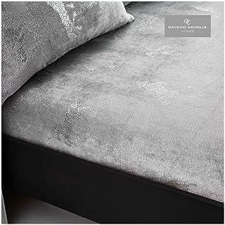 Gaveno Cavailia Teddy Fleece Unicorn Star Foil Fitted Sheet Single Size Silver, Super Soft Fluffy Cosy Warm Shiny Bedshee...