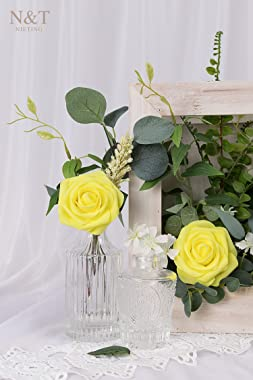 N&T NIETING Artificial Flowers, 25pcs Fake Flowers Foam Roses for DIY Wedding Bridal Bouquet, Party Decoration, Home Disp