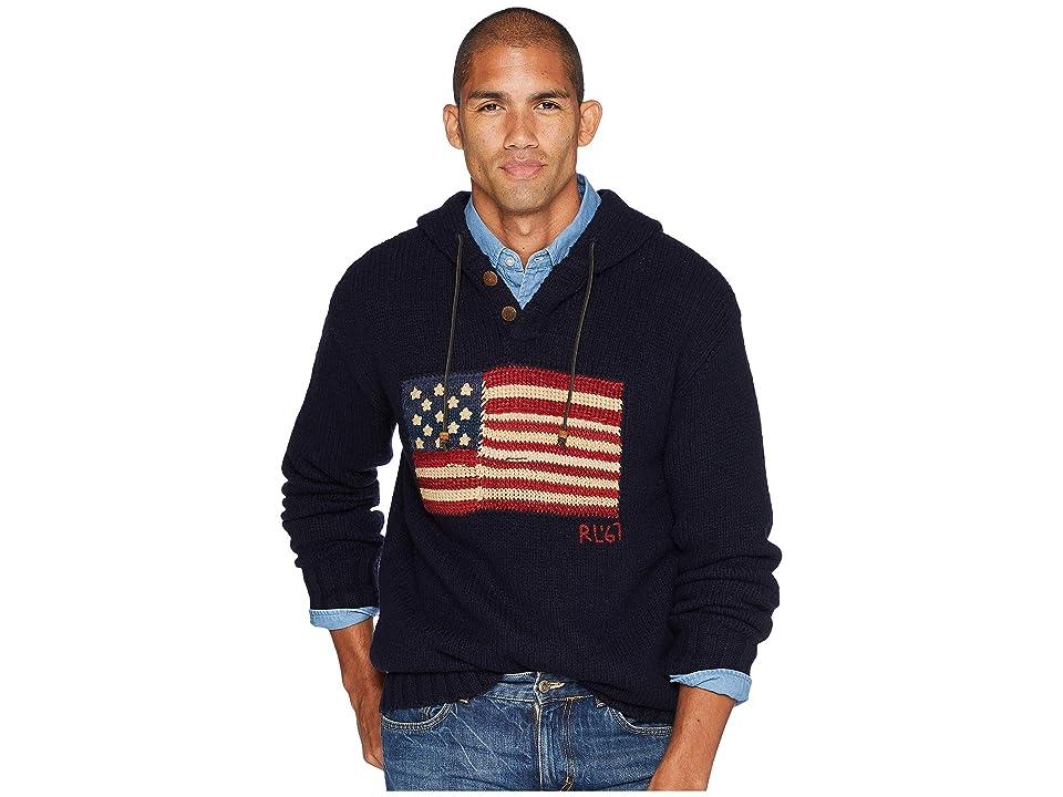 Polo Ralph Lauren Wool Flag Hoodie Sweater (Navy) Men