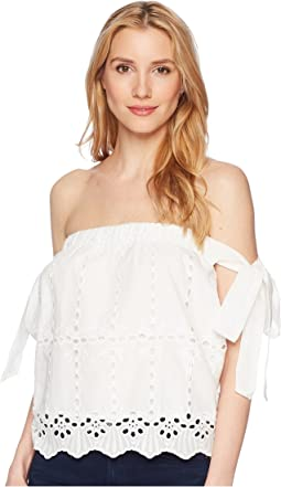 Bare Shoulder Eyelet Top