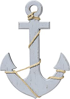 WHW Whole House Worlds Mariner's Anchor Wall Art, Nautical Painted Wood, Lightly Distressed with Twine Details, Pale Seaside Blue, 11 3/4 Inches Tall, Cape Cod Style