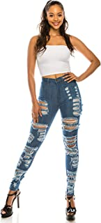 AP Blue Aphrodite High Waisted Jeans for Women - Skinny Womens Hand Sanding Distressed Ripped Jeans