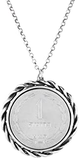 PZ Paz Creations 925 Sterling Silver Vintage Coin Necklace for Women