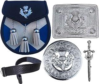 Scottish Kilt Sporran Thistle Crest Belt Buckle/Pin 5 Pcs Set