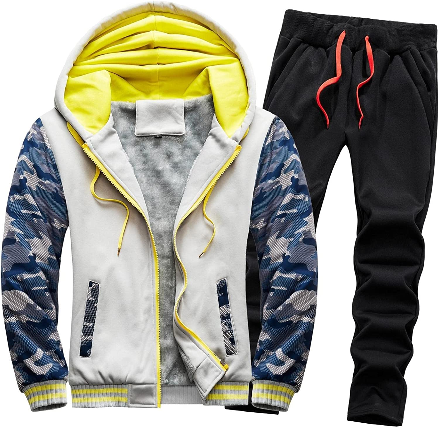 Men's 2 Piece Hooded Jacket Long Sleeve Full Zip Fuzzy Hoodies Outwear & Thicken Pants Sets Fall Winter Thermal Outfits
