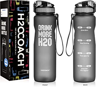 H2OCOACH Sports Water Bottle with Time Marker   Motivational 36 oz, Drink More, Reusable with Fruit Infuser Filter (1 Liter)