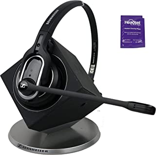 Sennheiser DW Pro 1 Wireless Headset Bundled with Headset Advisor Wipe (Renewed)