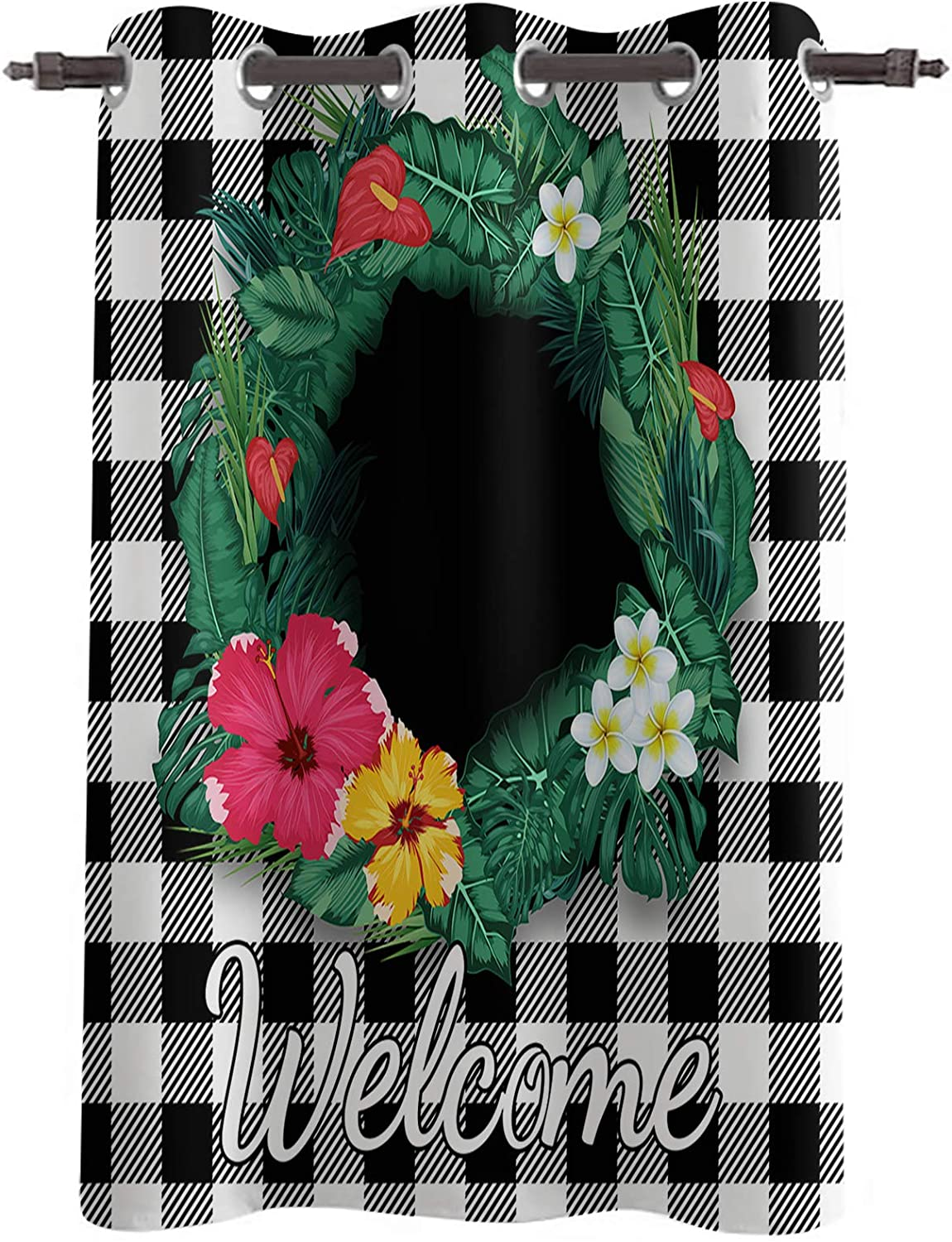 Blackout Window supreme Curtain Drapes Welcome Flower Wreath with Green Popular product