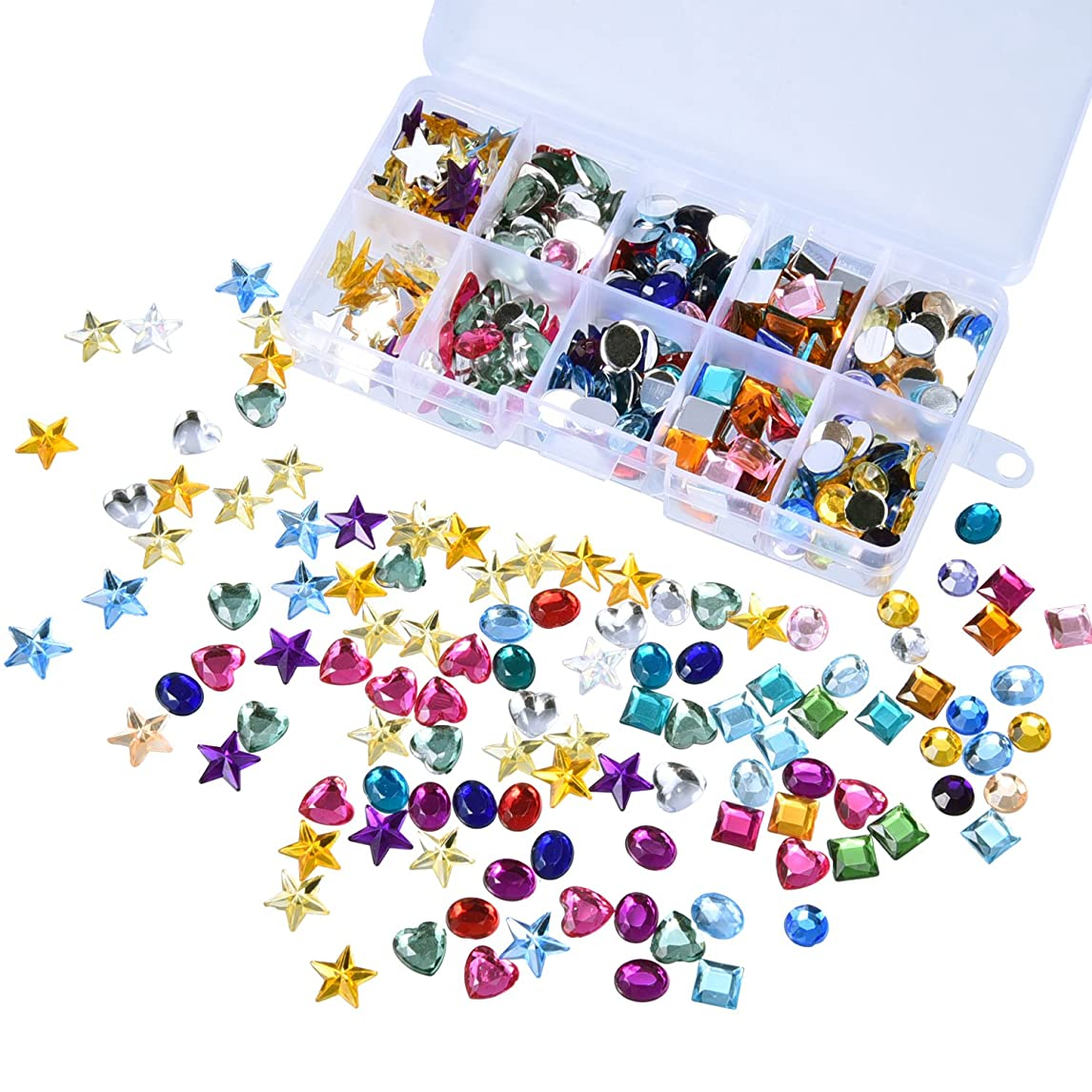 Outus 500 Pieces Gems Flatback Rhinestones Acrylic Craft Jewels Gemstone Embellishments, Heart Star Square Oval, Round, with Plastic Storage Box, Assorted Color srxuh52016737847