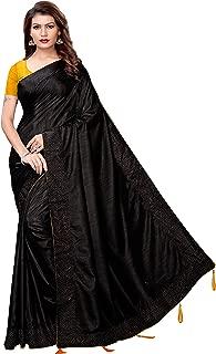 Partywear Art Silk Kalamkari and Bhagalpuri Style Women's Sarees with Blouse Piece (Multi-Color_Free_Size) Silver Pearls Black