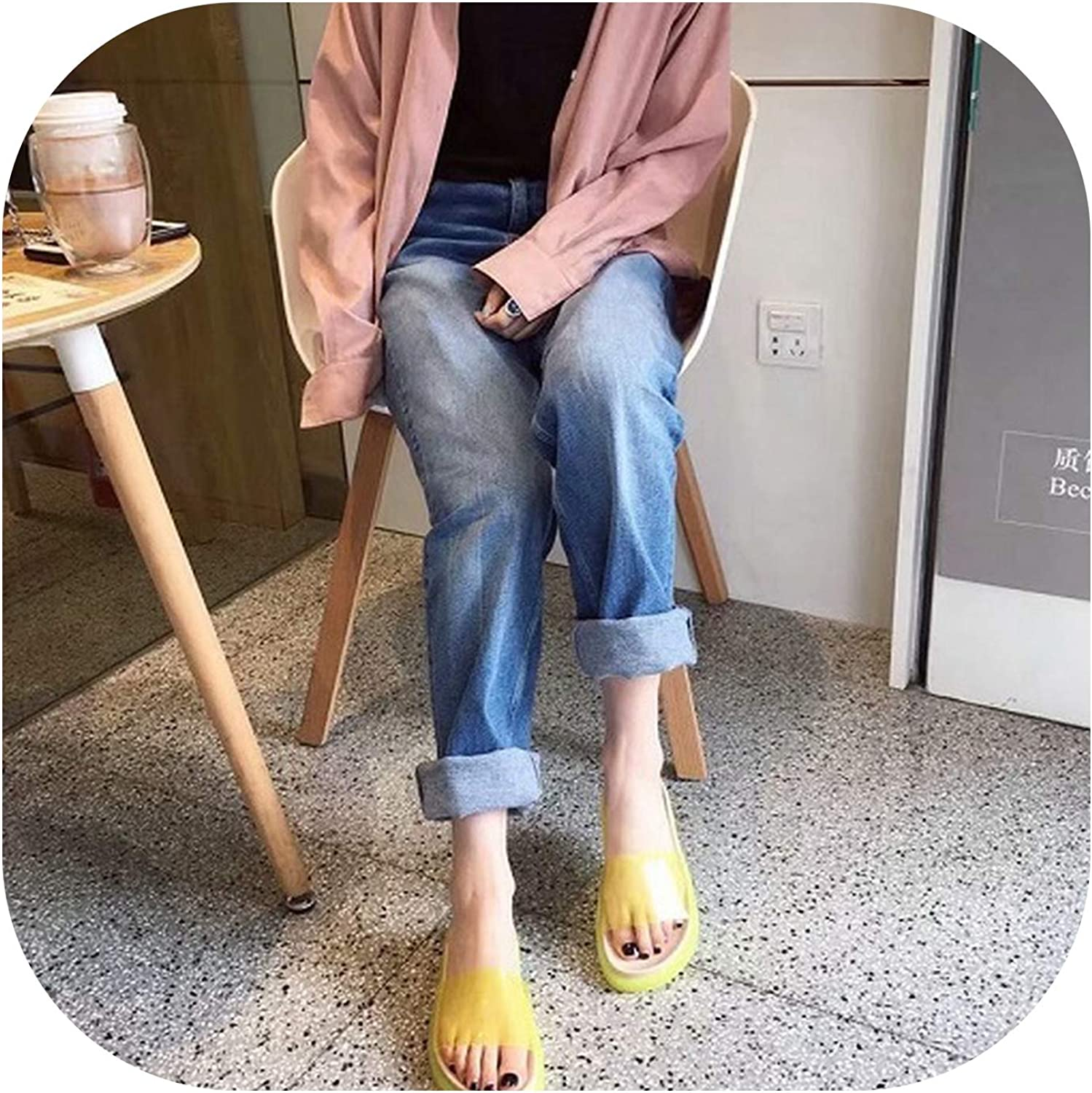 Designer Sweet shoes Transparent Pure colors Flats Women Slippers,